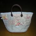リネンの革の持ち手のバッグ